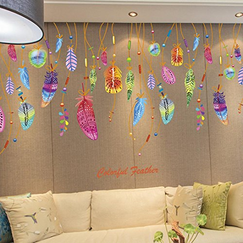 Iuhan® Fashion Feather Wall Sticker Classic Dream Catcher Sofa Art Decal Mural Lucky Room Decor (Classic Car Wallpaper Border compare prices)