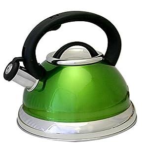 Premium Green Modern Style 3 Quart Stainless Steel Rapid Heating Whistling Tea Kettle
