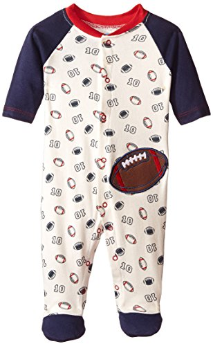BON BEBE Baby-Boys Newborn Football Snap Front Footed Coverall, Multi, 6-9 Months (Bebe Feet compare prices)