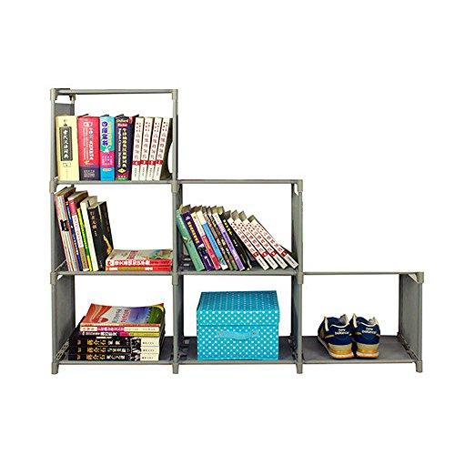 Storage Cabinet, HOOHI 3-Tier Multipurpose Shelf Space-Saving Storage Cube Closet Organizer Shelf 6-cube Cabinet Bookcase (Gray) High 4 Shelf Bookcase