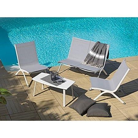Salon de jardin MAHE, moderne, en Aluminium et textilène, 4 places et 1 table basse, vendu a l'unité (gris perle)