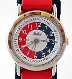 Reflex Time Teacher Blue and Red Stripe Velcro Strap Boys Watch 105033CC