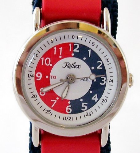 Reflex Time Teacher Blue and Red Stripe Velcro Strap Boys Watch 105033CC