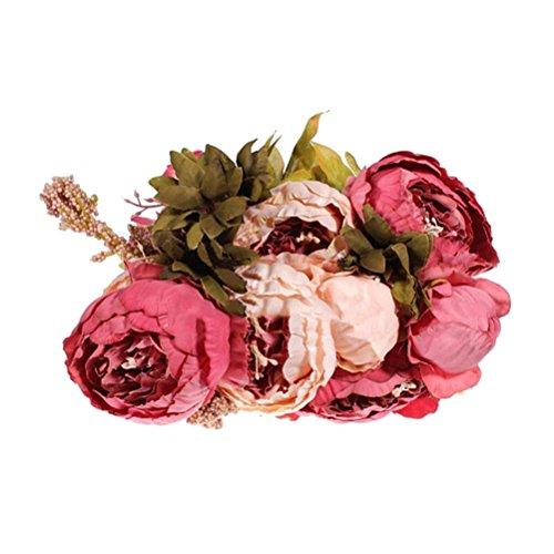 tinksky d coration bouquet artificiel maison fleur de pivoine rose clair rose fonc. Black Bedroom Furniture Sets. Home Design Ideas