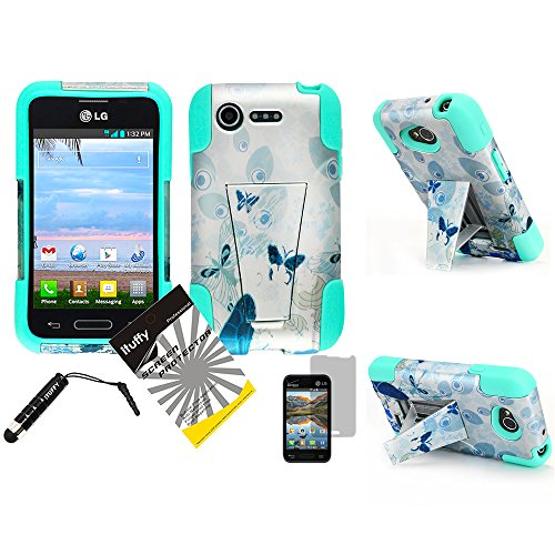 3 items Combo: ITUFFY(TM) LCD Screen Protector Film + Mini Stylus Pen + 2 tone Design Dual Layer KickStand Tuff Impact Armor Hybrid Soft Rubber Silicone Cover Hard Snap On Plastic Case for Verizon LG Optimus Zone2 VS415PP / LG Optimus Fuel L34C (Peacock Butterfly - Mint Blue) (Optimus Fuel Rubber Phone Case compare prices)