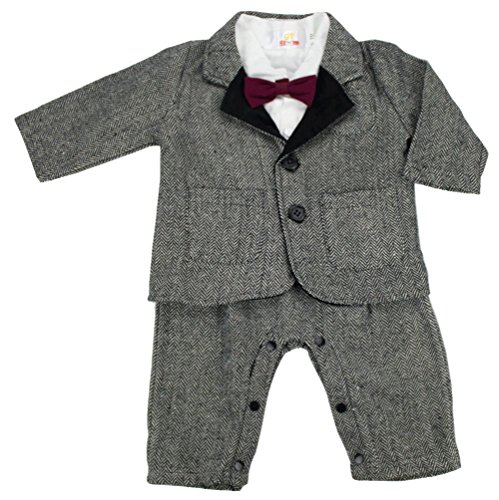 QTBloom Baby Boy 2 Pieces Long Sleeves Formal Tuxedo Romper Suit
