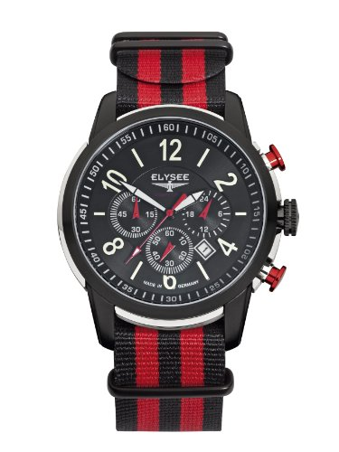 Elysee Race 1 Men's Quartz Watch with Black Dial Chronograph Display and Multicolour Nylon Strap 80524