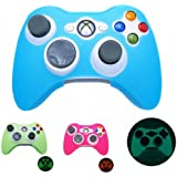 BLUE GLOW in DARK Xbox 360 Game Controller Silicone Case Skin Protector Cover (Many Colors Available)