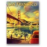 サンフランシスコ★ゴールデンゲートブリッジ・古き良き時代の風景★アメリカンブリキ看板