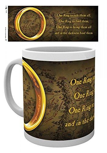Set: Il Signore Degli Anelli, Un Anello Per Domarli Tazza Da Caffè Mug (9x8 cm) e 1 Sticker sorpresa 1art1®