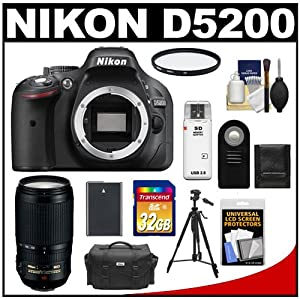 Nikon D5200 Digital SLR Camera Body (Black) with 70-300mm VR Zoom Lens + 32GB Card + Case + Battery + Filter + Tripod + Accessory Kit