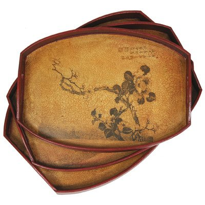 Oriental Furniture Great Practical Gifts For Her Under 50 Dollars, 16-Inch Ming Branch Of Life Oriental Style Trays, Set Of 3
