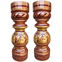 Flower Vase Pair Wooden Flower Vases Wooden Vase Gift Item Showcase Table Decor - B01ID9X010