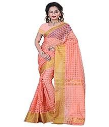 Sanju Swanky Orange Color Cotton Silk Saree
