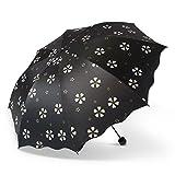 Yukiss 折り畳み傘 レディース かわいい ぬれると柄が浮き出る傘 丈夫な耐風仕様 晴雨兼用 ブラック(ブラック) …