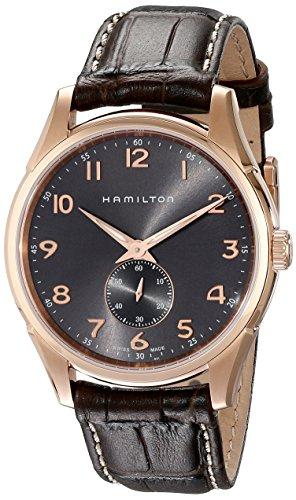 Orologio HAMILTON da uomo, Jazzmaster Thinline, cassa oro rosa e cinturino in pelle marrone