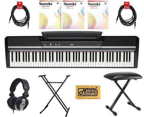 "Korg Sp170S 88 Key Digital Piano Black,Korg Sp170Sbk - 88 Key Digital Piano Package Includes: - Korg Sp170S Black Piano - Piano Stand - Piano Bench - Pro Headphones - (2) 1/4"" Male To Male Cables 18' - Suzuki Piano School Vol. 1, 2, 3 With Cd - Tms Polish"