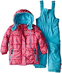 Rugged Bear Little Girls\' Heart Plaid All Over Printed Snowsuit, Pink, 4T
