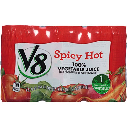 V8, 100% Vegetable Juice To Go , Spicy Hot, 6 ct, 5.5 oz cans (Can Orange Juice compare prices)