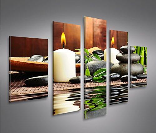 Zen-Stones-5-Tableaux-sur-toile-Image-Tableau-pour-la-mur-prts--poser