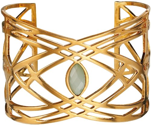 Fiorelli Costume Collection Ladies B4034 Statement Bangle with Lattice Pattern with Pale Green Stone