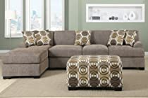 Hot Sale 3 pieces Faux Linen Sectional Sofa with Ottoman (Slate)