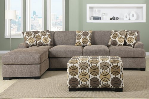 3 Pieces Faux Linen Sectional Sofa With Ottoman (Slate)