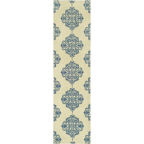 Safavieh HK145A Chelsea Collection Hand-Hooked Wool Area Runner, 2-Feet 6-Inch by 6-Feet, Ivory/Blue