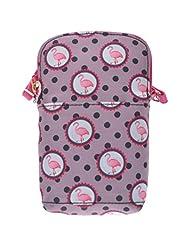 Dash Of Bling Flock Of Pink - Flamingo Gadget Sling Bag(Greyish Brown)
