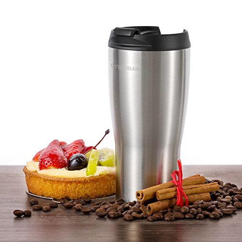 Premium 14 Ounce Tumbler by Y.S.T Travelers: Double Wall Vacuum Insulated Travel Mug, Hot and Iced Coffee Thermal Cup, Leak-Proof Locking Lid with Stainless Steel Straw and Cleaning Brush Included (Water Cooler Kuerig compare prices)