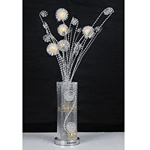 Large modern silver aluminium metal vase flowers twigs for Aluminium flower floor lamp in silver red
