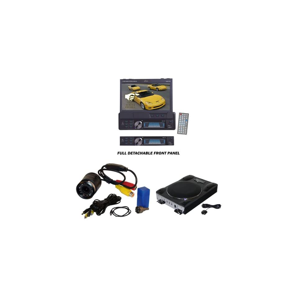 Lanzar Car, Van, Truck DVD Player, Amplified Subwoofer and Pyle Camera Package   SDBT73N 7 Single Din In Dash Motorized Touch Screen TFT/LCD Monitor With DVD/CD//MPEG4/USB/SD/AM/FM/RDS Receiver   VCTBS8 Vector 8 Ultra Slim 600 Watt High Power Amplif