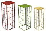 Faux Distressed Metal Red, Green and Cream Square Nesting Tables Set of 3 - Large=29.5