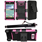 2-in-1 Bundle Combo SOGA® Black On Hot Pink Dual Layer Combat Heavy Duty Armor Case With Belt Clip Holster Kickstand For LG Optimus Showtime L86C L86G Straight Talk / LG Splendor Venice US730 U.S. Cellular