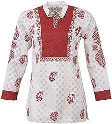 ALMAS Lucknow Chikan Women's Cotton Regular Fit Kurti (Cream and Maroon)