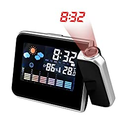 SUBA 180° Projection Alarm Clock, Snooze, Colourful LED Screen Backlight, Temperature, Humidness, Week, Date, Alarm Status, Operated by Both Battery and Adaptor (Black)