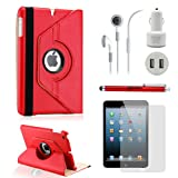 GEARONIC TM iPad Mini 5-in-1 Accessories Bundle Rotating Case for Business and Travel, Red Reviews