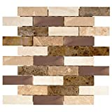 Copper Canyon 12 in. x 12 in. x 6 mm Copper and Marble Mosaic Wall Tile