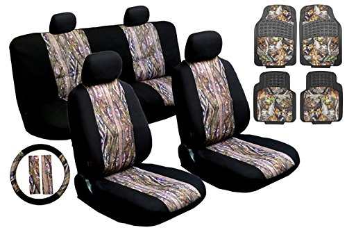 17pc Mesh Camo Car & Truck Seat Cover Gift Sets - Front Rear Camouflage Seat Covers, Steering Wheel, Seat Belt Pads, Floor Mats (Heavy Duty Rubber Floormats) (Camouflage Truck Seat Covers compare prices)
