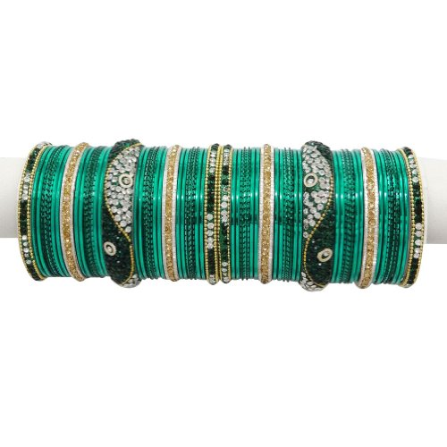 Teal Green Gold Tone CZ Bangle Bracelet Indian Women Party Wear Costume jewellery SIZE 2*8
