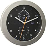 Bai Designer Weather Station Wall Clock, Black