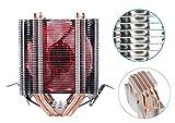 upHere Intel/AMD両CPU対応 サイドフロー型CPUクーラー デュアルファン 赤いLED インテルCPU専用 PWM仕様 静音