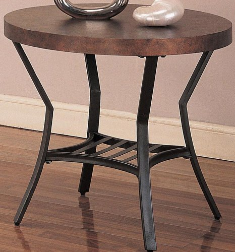 Cheap End Table with Hammered Copper Styled Top in Metal Base (VF_720197)