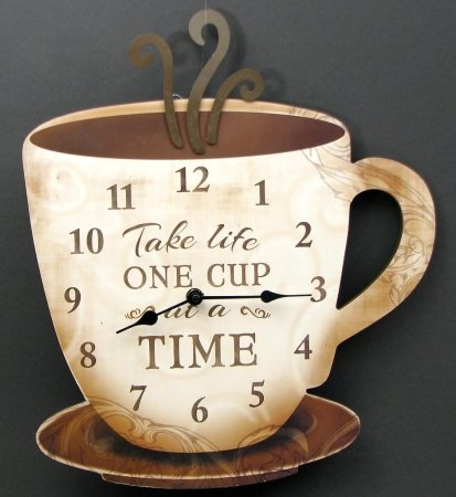 IWGAC 049-14098 Coffee Clock Take Life One Cup At A Time (Coffee Kitchen Clock compare prices)