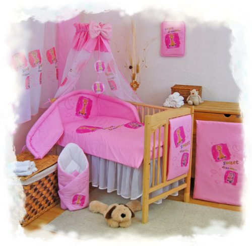 "2 pcs BABY COT BED BUNDLE BEDDING SET DUVET+PILLOW COVERS matching cot bed 120 x 150 cm (47"" x 59"") Pink 1 - 1"