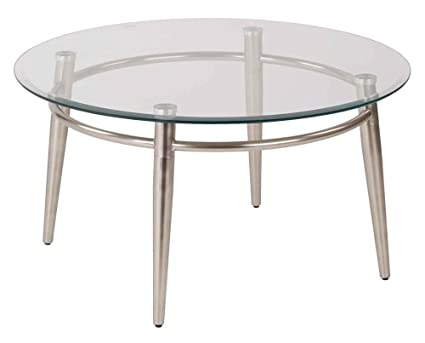 Brooklyn Clear Tempered Glass Round Top Coffee Table with Nickel Brush Legs