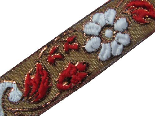 4.5y White Red Jacquard Woven Ribbon Trim Sewing Craft Lace India