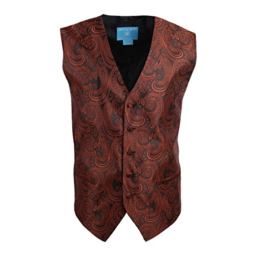 EGC1B07A-M Brown Black Patterned Leadership Shopstyle Waistcoat Woven Microfiber Meeting Mens Vests Medium Vest By Epoint