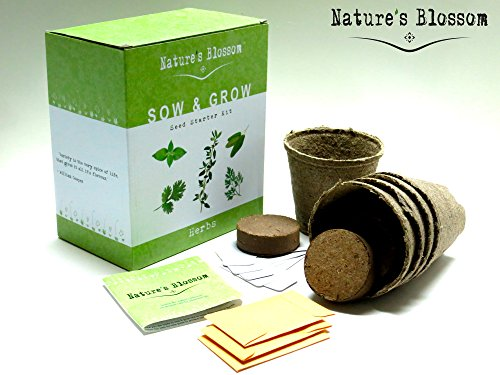 Natureu0027s Blossom Herb Seed Starter Kit. All You Need To Grow 5 Organic Herbs  From Seed.