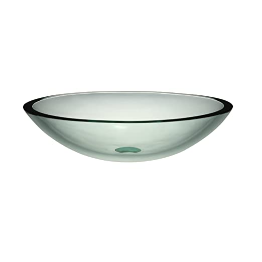 Decolav 1129T-TNG Translucence Oval Tempered Glass Vessel Sink, Transparent Natural Glass